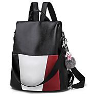 cheap School Bags-Women's Bags PU(Polyurethane) Backpack Feathers / Fur Color Block Black