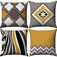 4 pcs Cotton / Linen Pillow Case, Simple Geometic Simple Geometric