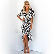 Per donna Moda città Fodero Vestito - Con stampe, Leopardata A V Asimmetrico