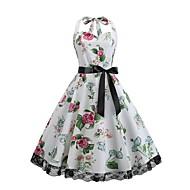 فستان نسائي متموج أناقة الشارع دانتيل طباعة فوق الركبة ورد قبة مرتفعة حول الرقبة / مثير
