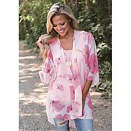 Damen Blumen Baumwolle Bluse, V-Ausschnitt Rosa M
