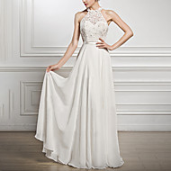 Maxi Dress A-Line Halter Neck Floor Length Chiffon Dress with Beading by LAN TING Express