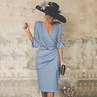 cheap -Women's Daily Sheath Dress - Polka Dot Pleated High Waist V Neck Blue Black XL XXL XXXL