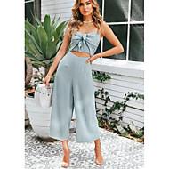 Kadın's Temel Askılı Yonca Açık Mavi Geniş Bacak Tulumlar, Solid L XL XXL