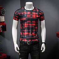 Pánské - Barevné bloky Tričko, Tisk Kulatý Rubínově červená XXL