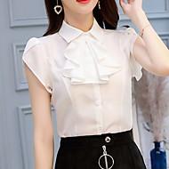Tynn Skjortekrage Bluse Dame - Ensfarget Hvit L