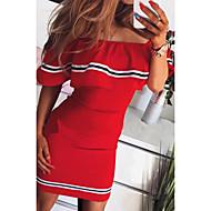 Femme Au dessus du genou Mince Moulante Robe Epaules Dénudées Rouge Rose Claire Jaune M L XL Manches Courtes