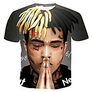Herrn 3D / Porträt Baumwolle T-shirt, Rundhalsausschnitt Druck Grau XL