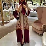 Women's Boho Elegant Abaya Jalabiya Dress - Geometric Lace up Print Red L XL XXL