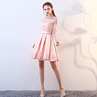 A-Line Off Shoulder Short / Mini Satin Bridesmaid Dress with Lace by LAN TING Express