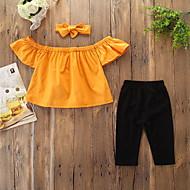 Baba Lány Aktív / Alap Egyszínű Csokor Rövid ujjú Szokványos Pamut / Spandex Ruházat szett Sárga