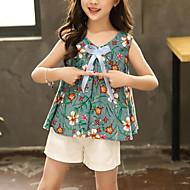 Børn Pige Aktiv / Gade Blomstret Sløjfer / Trykt mønster Uden ærmer / Langærmet Normal Rayon Tøjsæt Grøn