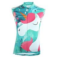 ILPALADINO Dame Uden ærmer Cykeltrøje - Mørkeblå Mineral Grøn Tegneserie Cykel Trøje Toppe UV-resistent Åndbart Refleksbånd Sport 100% Polyester Tøj / Tilbage til lomme
