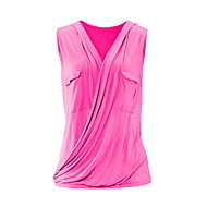 Women's Plus Size Slim Shirt - Solid Colored V Neck Fuchsia XXXXL