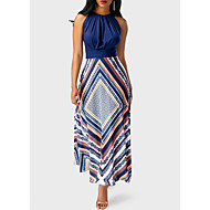 cheap -2019 New Arrival Sundresses Women's Holiday Going out Casual / Daily Sexy Maxi Slim Tunic Swing Sundress Elbise Vestidos Robe Femme - Floral Stripes Geometic Spring Navy Blue M L XL / Halter Neck