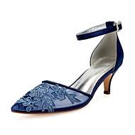 สำหรับผู้หญิง ซาติน / ตารางไขว้ ฤดูร้อนฤดูใบไม้ผลิ หวาน / อังกฤษ รองเท้าแต่งงาน ส้น Stiletto Pointed Toe หินประกาย / ดอกไม้ผ้าซาติน น้ำเงินเข้ม / สีน้ำตาลอ่อน / คริสตัล / งานแต่งงาน / พรรคและเย็น