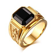 Heren Zwart Ring Zegelring Modieuze ringen Sieraden Goud / Zwart Voor Lahja Dagelijks