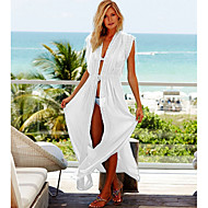 Women's White Skirt Cover-Up Swimwear - Solid Colored One-Size White