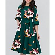 billige -Dame Elegant A-linje Kjole - Blomstret Knælang