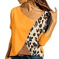 Women's Slim Blouse - Color Block V Neck Blue XXXL