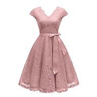 עד הברך תחרה טלאים דפוס, אחיד - שמלה סווינג סגנון רחוב אלגנטית בגדי ריקוד נשים