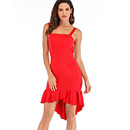 女性用 ベーシック シース マーメイド/トランペット ドレス ソリッド アシメントリー