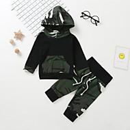 Dziecko Dla chłopców Casual / Podstawowy Nadruk Długi rękaw Regularny Bawełna Komplet odzieży Zieleń wojskowa