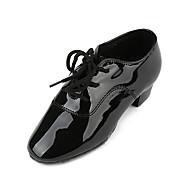 billige Jazz-sko-Gutt Jazz-sko PU Høye hæler Tykk hæl Dansesko Svart