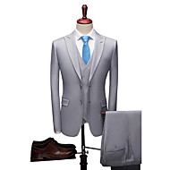 Blue / Light Gray / Dark-Gray Solid Colored Standard Fit Polyester Suit - Peak Single Breasted Two-buttons