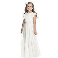 cheap -A-Line Round Neck Floor Length Chiffon Junior Bridesmaid Dress with Sash / Ribbon by LAN TING Express / First Communion