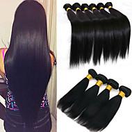 6バンドル ブラジリアンヘア ストレート バージンヘア 人間の髪編む バンドル髪 ワンパックソリューション 8-28 インチ ナチュラルカラー 人間の髪織り 生活 ソフト 厚型 人間の髪の拡張機能 女性用
