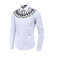 男性用 プリント プラスサイズ シャツ 幾何学模様 ホワイト XXXL