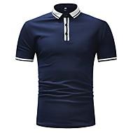 남성용 컬러 블럭 셔츠 카라 유럽 / 미국 사이즈 Polo 블랙 L
