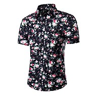 رجالي قطن قميص طباعة منقط / كواكب / ألوان متناوبة أسود XXXL