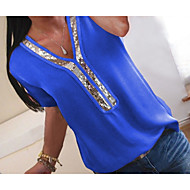 저렴한 -여성용 컬러 블럭 V 넥 플러스 사이즈 스팽글 / 쉬폰 / 글리터 - 티셔츠 퓨샤 XXXL / 봄 / 여름 / 가을