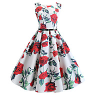 Damen Retro Hülle Kleid - Druck, Blumen Knielang
