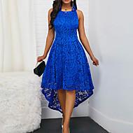 저렴한 -여성용 섹시 레이스 A 라인 드레스 - 솔리드, 레이스 비대칭