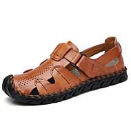 رجالي أحذية جلدية جلد الصيف رياضي / كاجوال صنادل المشي متنفس أسود / أصفر / بني
