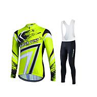 Skräddarsydda cykelkläder Herr Unisex Långärmad Cykeltröja med Haklapp-tights - Grön Cykel Tröja Cykling Tights Bib Tights, Andningsfunktion, Snabb tork, Svettavvisande Polyester / Elastisk