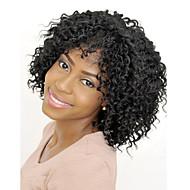 Syntetiske parykker Krøllet / Afro Kinky Stil Med lugg Lokkløs Parykk Svart Svart Syntetisk hår 14 tommers Dame syntetisk / Bekvem / Afroamerikansk parykk Svart Parykk Medium Lengde Cosplay-parykk