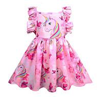 저렴한 -아동 여아 귀여운 스타일 데이트 무지개 민소매 무릎길이 폴리에스테르 드레스 블러슁 핑크