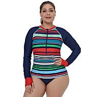 בגדי ריקוד נשים מגן מפריחה קל במיוחד (UL) מפחית שפשופים נוח ניילון טרילן שרוול ארוך בגדי ים ביגוד חוף צמרות ציור רוכסן קדמי שחייה ספורט מים / סטרצ'י (נמתח)