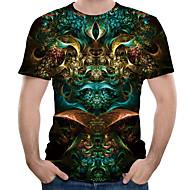 זול -3D צווארון עגול מידות גדולות כותנה, טישרט - בגדי ריקוד גברים דפוס שחור XXXXL