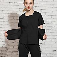 3pcs Dame Front Ziper Yoga Suit Svart sport Helfarge Treningsdrakt Yoga & Danse Sko Trening Treningsøkt Kortermet Sportsklær Lettvekt Pustende Fort Tørring Nettingtights Elastisk Tynn