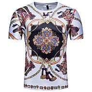 Herrn Einfarbig / 3D / Tribal T-shirt Druck Weiß L