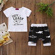 Baby Boys' Active / Basic Print Print Short Sleeve Regular Cotton Clothing Set White / Toddler