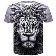 Homens Tamanhos Grandes Camiseta 3D / Animal Algodão Decote Redondo Delgado Cinzento XXL