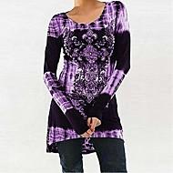 Dames Patchwork / Print T-shirt Bloemen / 3D Zwart XXXL