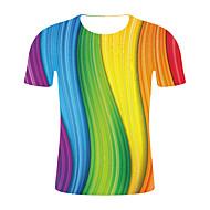 Homens Tamanhos Grandes Camiseta Estampa Colorida / Arco-Íris Decote Redondo Arco-íris XXL