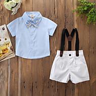 مجموعة ملابس كم قصير لون سادة للصبيان طفل